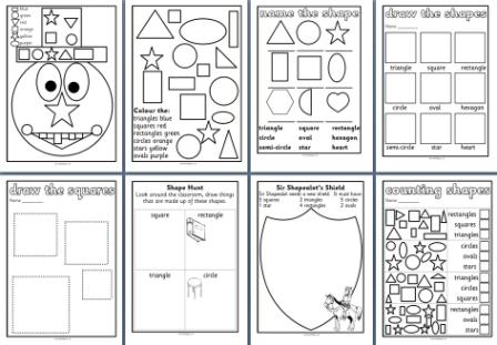 Free Printable Worksheets for Early Years/KS1 2D shape.