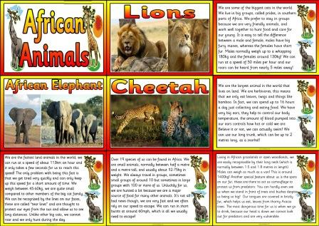 Free Printable African Animals Matching Posters