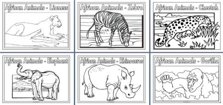 African Animals Colouring Pages