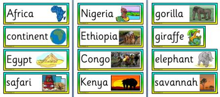 Free Printable Africa Vocabulary Cards