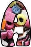Liquorice Allsorts background instant display digital lettering sets for classroom bulletin board display.