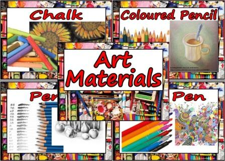 Printable Poster set showing different art materials