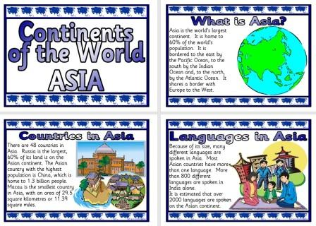 Free Printable Asia Information posters for Geography Classroom Display