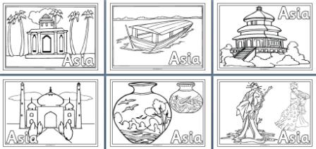 Asia Colouring Pages