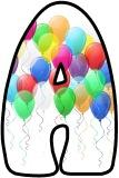 Free printable lettering sets - balloon background lettering for birthday, celebration, classroom displays.