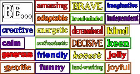'Be...' positive adjectives set for classroom display.  Great for door displays or for whole school.  Includes 2 adjectives per letter.  Could also be added to by children deciding their own positive ways to be.
