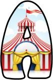 Free printable Circus themed lettering sets with a big top background.  Instant display digital lettering sets for display.
