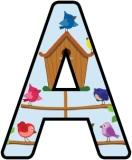 Free printable birdhouse background lettering sets for classroom display.