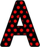 Black background with red polka dots background.  Free printable instant display digital lettering sets.