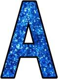 Free printable blue glitter alphabet instant display lettering sets for classroom bulletin board display