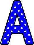 Free printable blue with a white polka dot background classroom display lettering sets for bulletin board display.