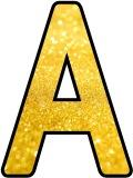 Bright Gold glitter background free printable lettering sets for classroom display, scrapbooking, crafts etc.