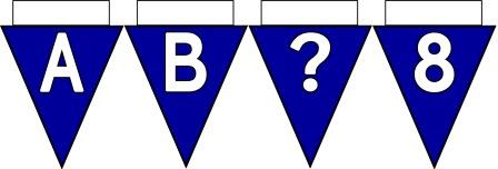 Free Printable Bunting for Classroom Display. Lettering, Number and blank Dark Blue bunting flags included.