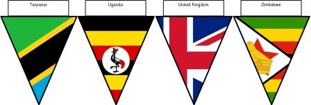 Free Printable Flags of the World Bunting for display.