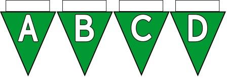 Free Printable Bunting for Classroom Display. Lettering, Number and blank Dark Green bunting flags included.