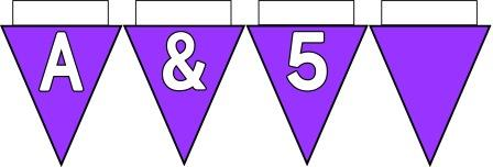 Free Printable Bunting for Classroom Display. Lettering, Number and blank Lilac bunting flags included.
