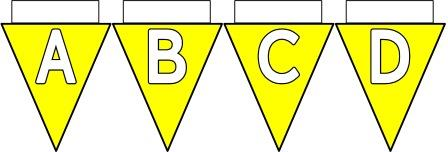 Free Printable Bunting for Classroom Display. Lettering, Number and blank Yellow bunting flags included.