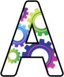 Free printable alphabet, digital lettering sets for classroom display, with a cogs background.