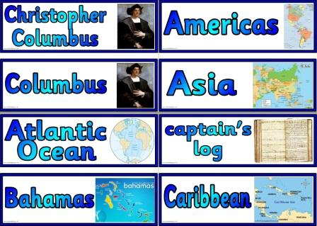 Free Printable Christopher Columbus vocabulary cards