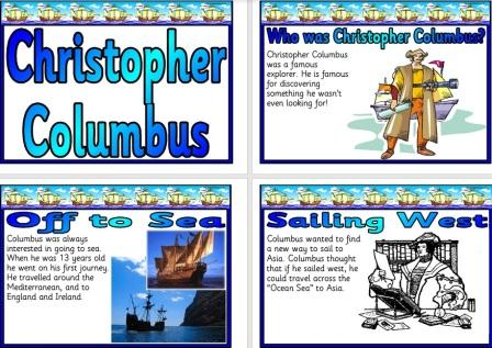 Free printable simple Christopher Columbus Posters KS1 Version