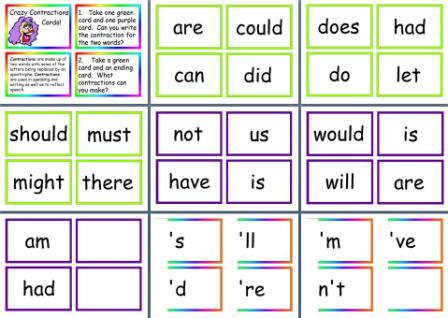 Free teaching resources Contractions Cards