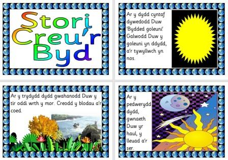 Stori Creu'r Byd Creation Story in Welsh Posters