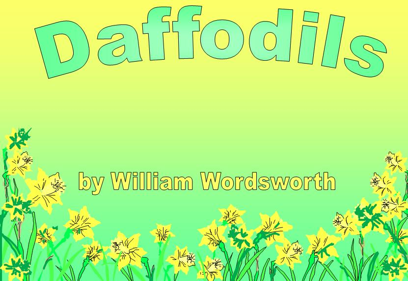 Free Teaching Resource Poetry Daffodils by William Wordsworth PowerPoint Presentation