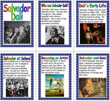 Free Printable Salvador Dali Biography Information Posters for Children