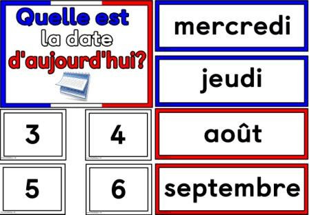 Free Printable Date in French Quelle est la date d'aujourd'hui?
