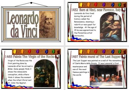 Free Printable Leonardo Da Vinci Biography Information Posters