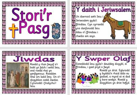 Free Printable Easter Story Stori'r Pasg Welsh Display Posters