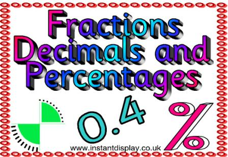 Fractions, Decimals and Percentages Posters