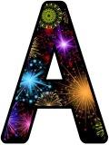 Free printable Fireworks background instant display digital lettering sets for classroom display.  Look great backed on metallic paper when on a dark board.
