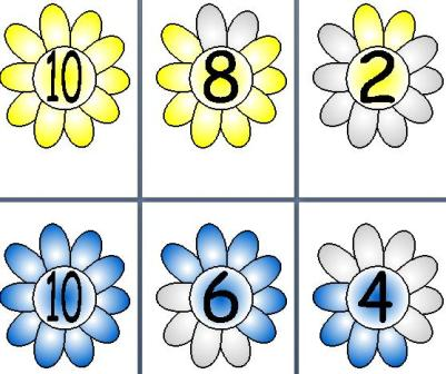 Free Printable Flower Number Bonds to 10 posters for KS1 EYFS Maths displays or work cards.