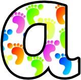 Footprint background lowercase display letters