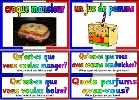 Free Printable French Cafe Items and Question cards MFL Resource