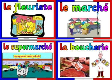 Free Printable French Shops Vocabulary Cards Posters