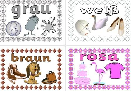 Free German Vocabulary Cards - Colours