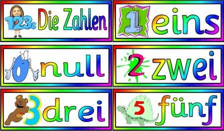 Free printable German Numbers Vocabulary Cards