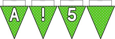 Free printable Green Polka Dot Bunting, A-Z, ?!&, numbers 0-9 and a blank flag all in one file.  Click image to download.