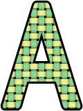 Green and Yellow woven, weaving pattern background letters and numbers.  Free instant display digital lettering sets for classroom display, crafts and scrapbooking.