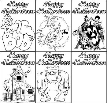 Free Printable Halloween Colouring Cards