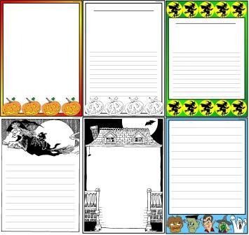Halloween Page Borders for Writing or Worksheets