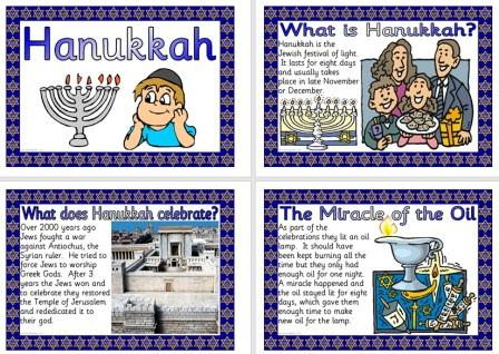 Free Printable Children's Information Posters about Hanukkah