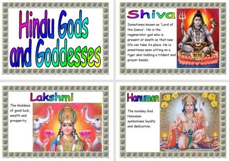 Free Printable Hindu Gods and Goddesses information posters