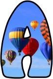 Free printable Hot Air Balloon background instant display lettering sets for classroom display.