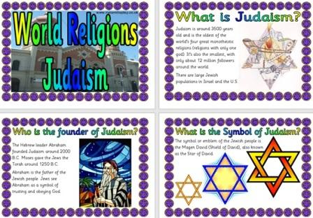 Free Printable World Religions information for Children - Judaism Jews