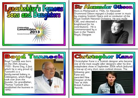 Free Printable Famous people from Lanarksire