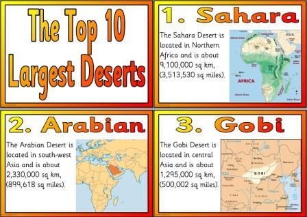Free Printable Top 10 Largest Deserts in the World