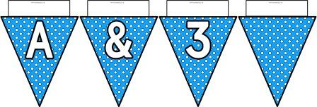 Free printable Light Blue Polka Dot Bunting, A-Z, ?!&, numbers 0-9 and a blank flag all in one file.  Click image to download.
